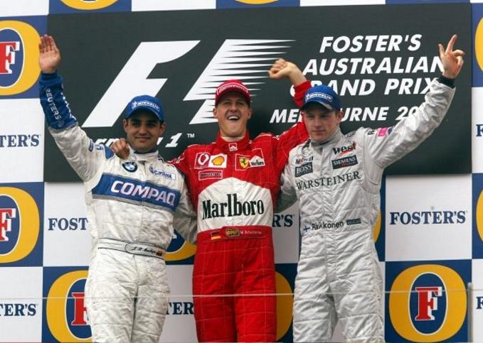 Juan Pablo Montoya, Michael Schumacher, Kimi Raikkonen - 2002 Australian GP