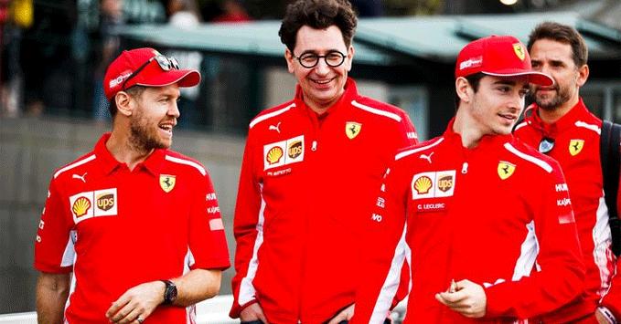 Sebastian Vettel, Charles Leclerc, Mattia Binotto, Ferrari