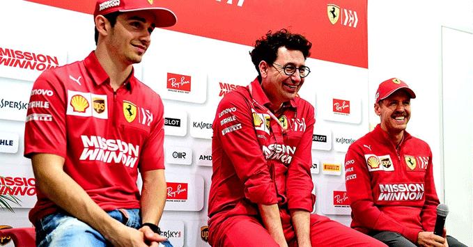 Charles Leclerc, Mattia Binotto, Sebastian Vettel (Ferrari)