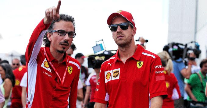 Laurent Mekies, Sebastian Vettel (Ferrari)